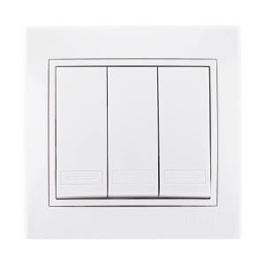 Διακόπτης Απλός Τριπλός - 3 Πλήκτρα Λευκό Mira (Πλήρης)